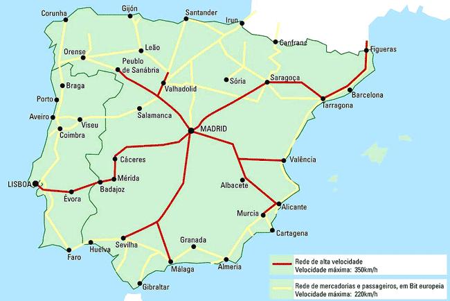mapa comboios espanha De: Rui Moreira